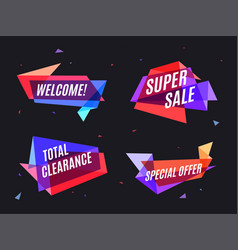 geometrical colorful banner speech bubble for vector image