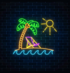 Glowing neon summer sign with palm sun vector