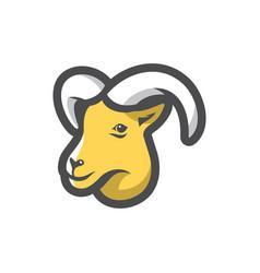 goat smile head icon cartoon vector image