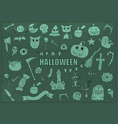halloween drawings set of design elements doodles vector image