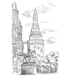 hand drawing moscow-7 vector image