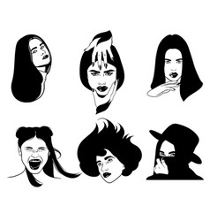hand drawn of beautiful women with hands tattoo vector image