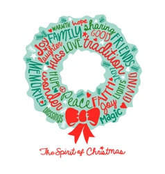 Handwritten Christmas wreath card Word Cloud desig vector image