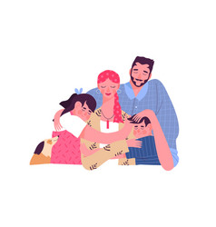 Happy family hugging mom with breast cancer vector
