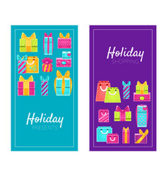 holiday shopping presents promotion advertising vector image