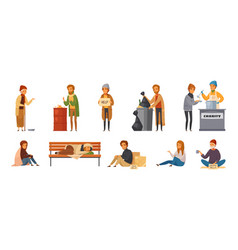 Homeless people cartoon icon set vector