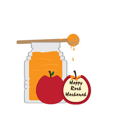 Honey jar with a pair of apples rosh hashanah vector