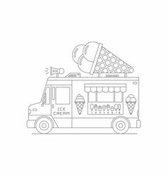 Ice cream truck mobile shop vector