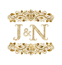 J and n vintage initials logo symbol letters vector