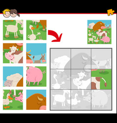 Jigsaw puzzles with cartoon farm animals vector