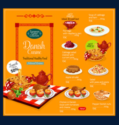 Menu for danish cuisine vector