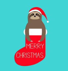 merry christmas sloth in red sock santa hat slow vector image