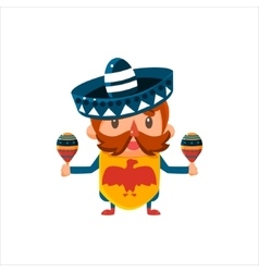 Mexican musician in traditional clothes vector