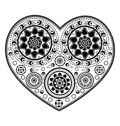 Monochromatic heart ornament vector image