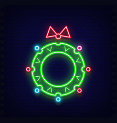neon christmas wreath vector image
