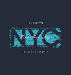 nyc brooklyn t-shirt design with brush stroke vector image