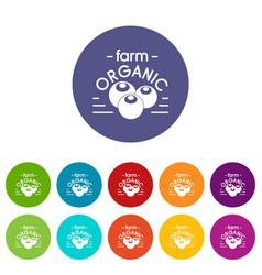 organic farm icons set color vector image