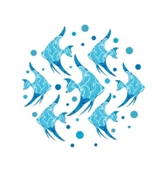 Pattern with collection of tropical fish vector