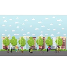 People on bicycle vector