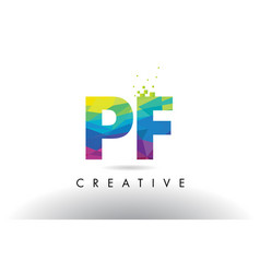 Pf p f colorful letter origami triangles design vector