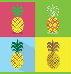 Pineapple icons set - different styles of vector