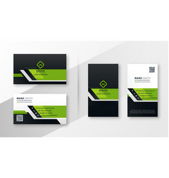 professional green modern business card template vector image