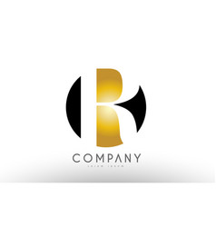 R black white gold golden letter logo design vector