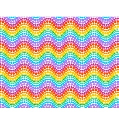 Rainbow colors dotted waves seamless pattern vector