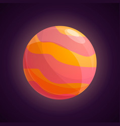 Red yellow planet icon cartoon style vector