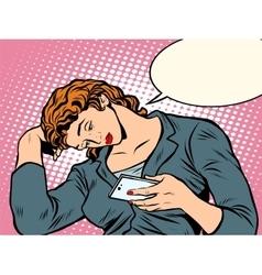 Sad girl looking smartphone vector image vector image