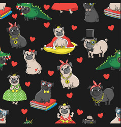 seamless pattern with funny dogs vector image