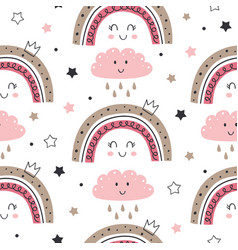 seamless pattern with princess rainbow and cloud vector image
