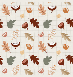 seamless pattern with various colorful fall leaves vector image