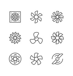 set line icons of fan vector image