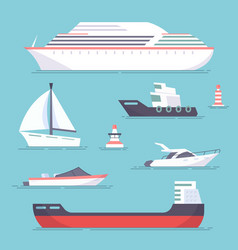 Set marine ships boats yachts and sailing vector
