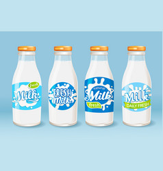 set of icons glass bottles with a milk vector image