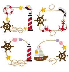 Set of isolated rope frames nautical vector