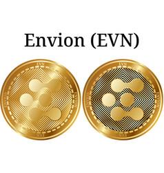 Set of physical golden coin envion evn vector