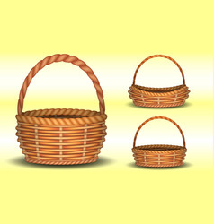 Set realistic wicker baskets different vector