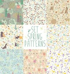 set spring floral patterns vector image