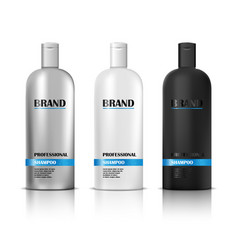 Shampoo white and black mockup with label isolated vector