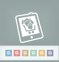 shopping on tablet icon vector image