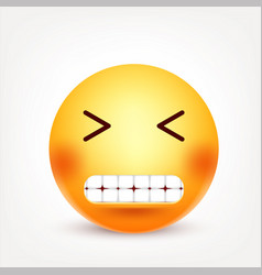 smiley happy emoticon yellow face with emotions vector image