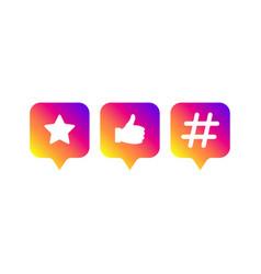 social media modern sign like follower hashtag vector image