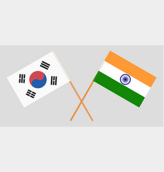 South korea and india korean and indian flags vector