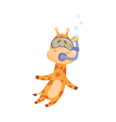 Spotted giraffe wearing diving suit snorkeling vector