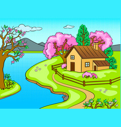 spring landscape pop art vector image