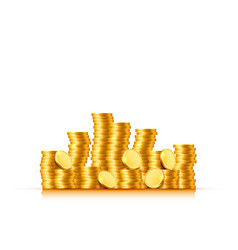 stacks coins on white background vector image