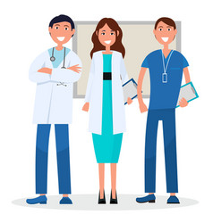 three medical advisers with board on background vector image