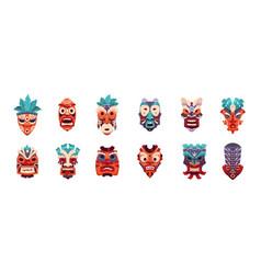 Tiki mask cartoon african and hawaiian tribal vector